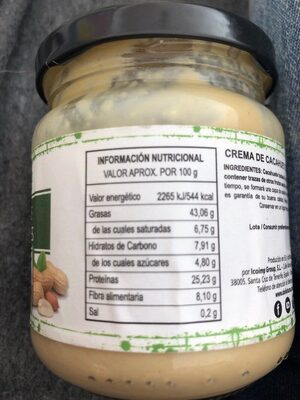 Crema Cacahuete - Información nutricional - es