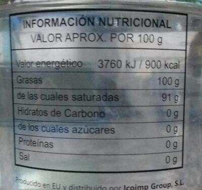 Aceite de coco virgen extra - Nutrition facts - es