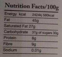 Chocolat Madagascar - Nutrition facts