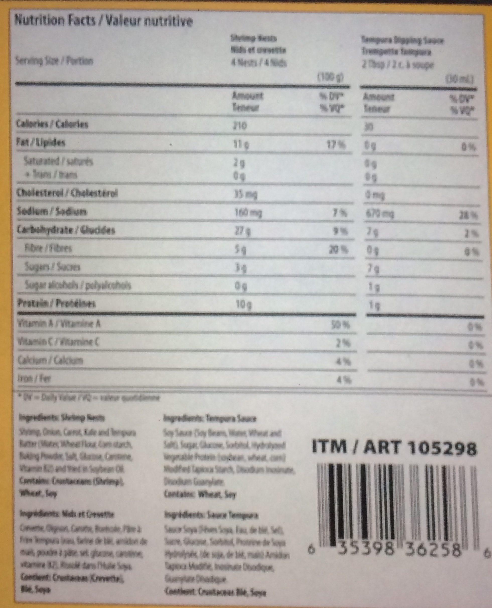 Nids de légumes et crevette - Informations nutritionnelles - fr