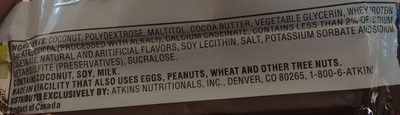 Atkins Endulge Bar - Chocolate Coconut - Ingredients - fr