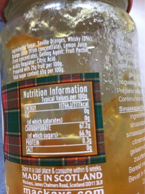 Mackays Orange marmalade with Whisky - Voedigswaarden