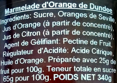 The dundee marmalade - Ingredients