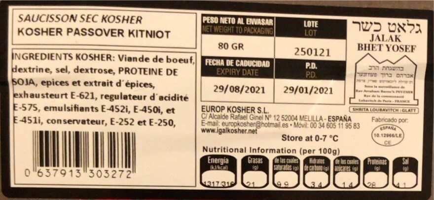 Saucisson sec  K - Voedingswaarden - fr