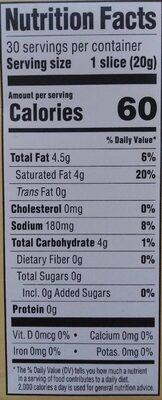 CHAO Vegan Creamery Slices - Nutrition facts - en