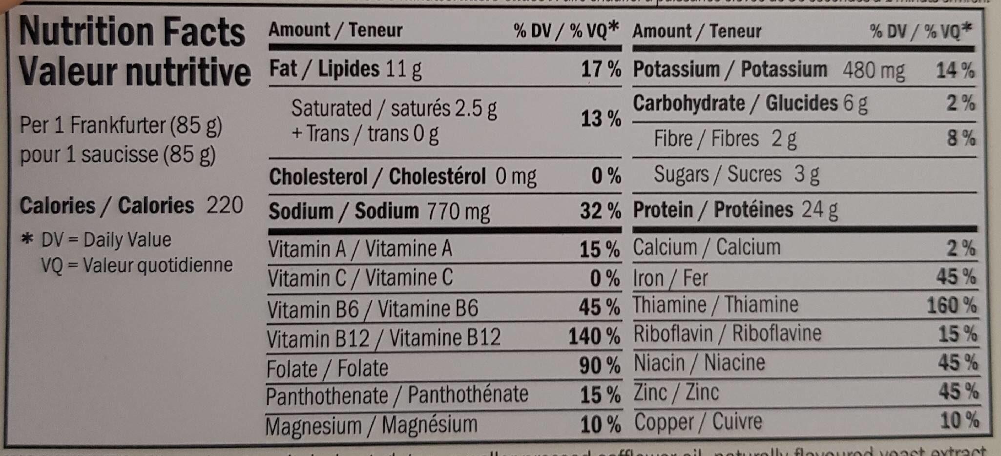 Frankfurters - Nutrition facts - fr