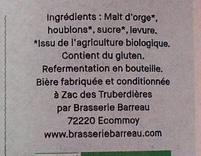 La Belinoise ambrée - Ingrediënten - fr