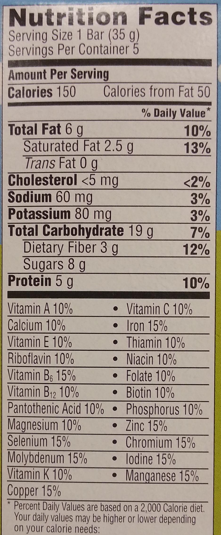 Peanut butter chocolate chip bar - Nutrition facts - en