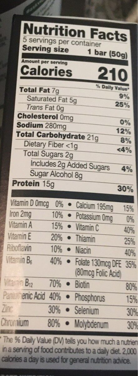 Macros white chocolate peanut butter nutrition bars - Nutrition facts - en