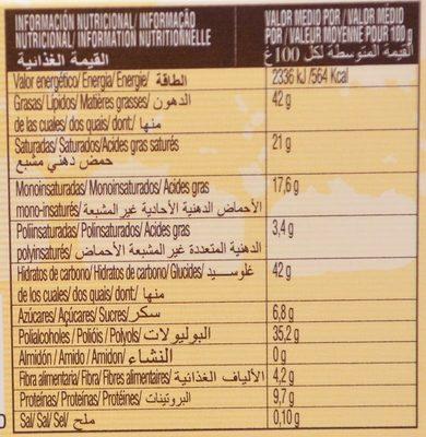 Turròn au Chocolat Sans Sucres Ajoutés - Información nutricional