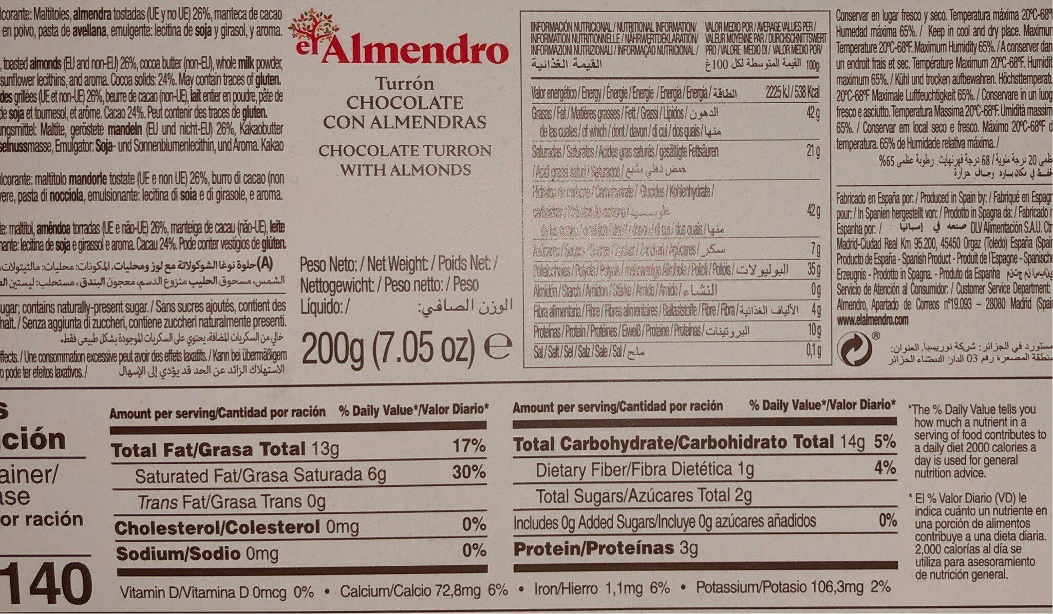 Turrón chocolate con almendras - Nutrition facts - fr