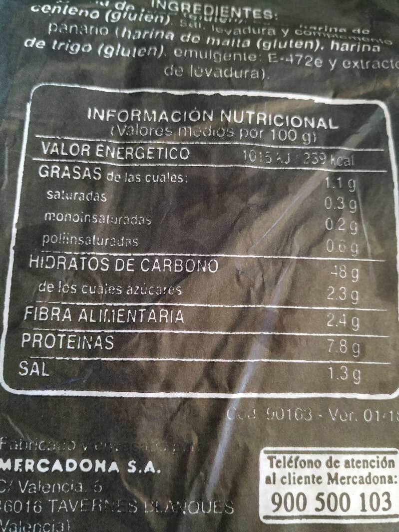 Pan de pueblo - Nutrition facts