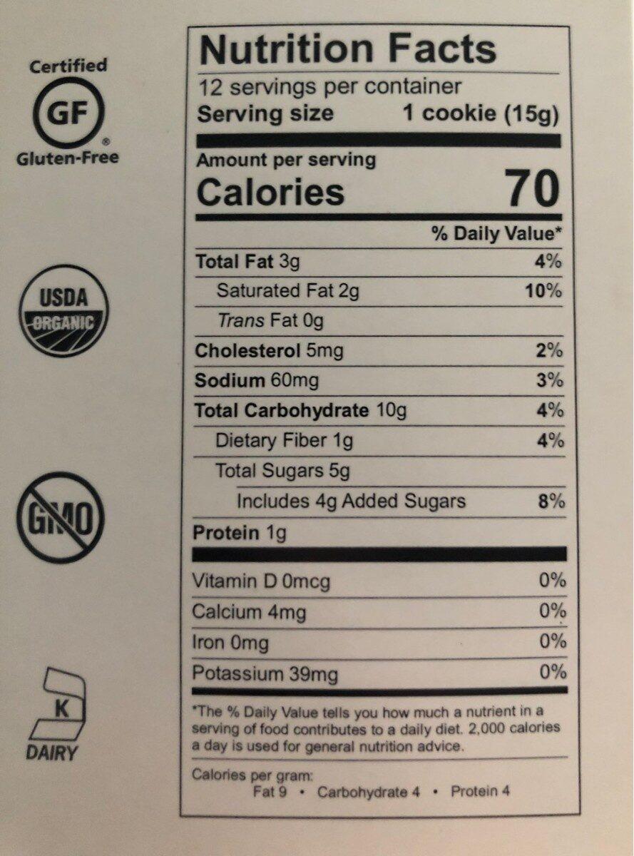 Oatmeal raisin cookies - Nutrition facts - en