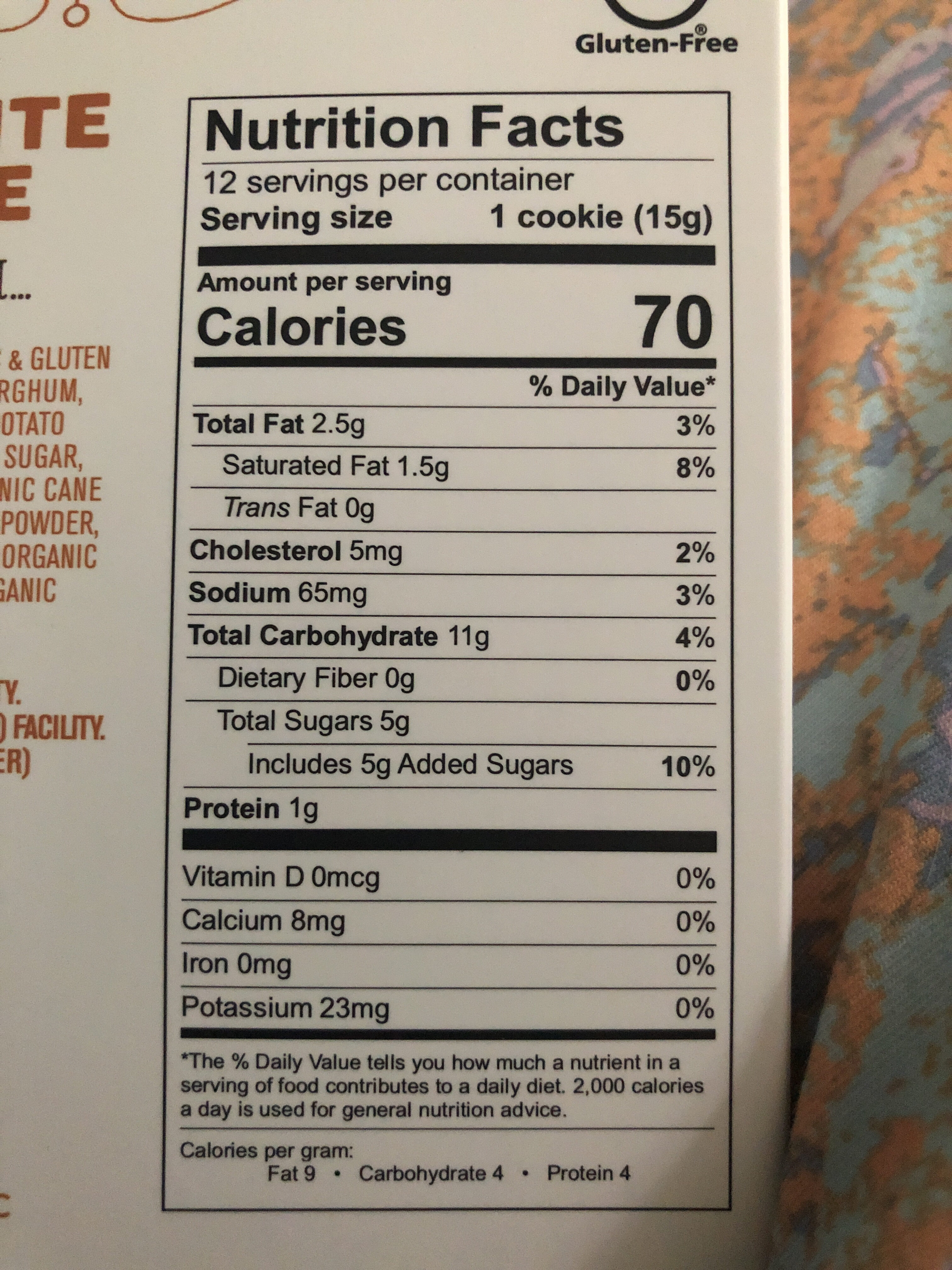 Steve & Andy's - Nutrition facts