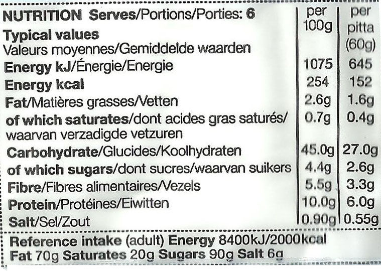 Wholemeal Pittas Enriched with Extra Virgin Olive Oil - Nutrition facts - fr