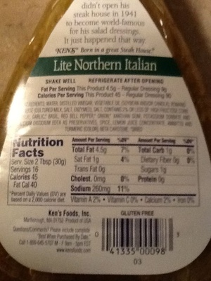 Lite Northern Italian With Basil & Romano Dressing - Product - en