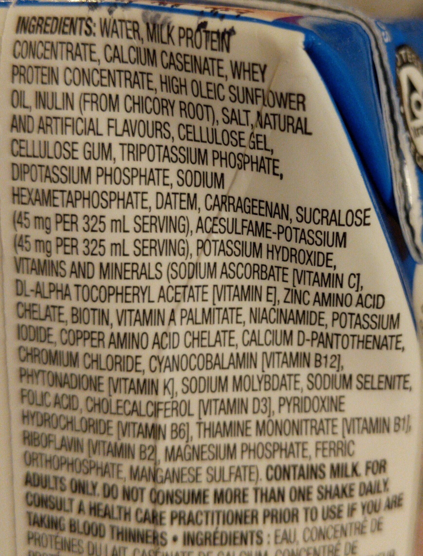 Premier Protein Vanilla - Ingrédients - fr