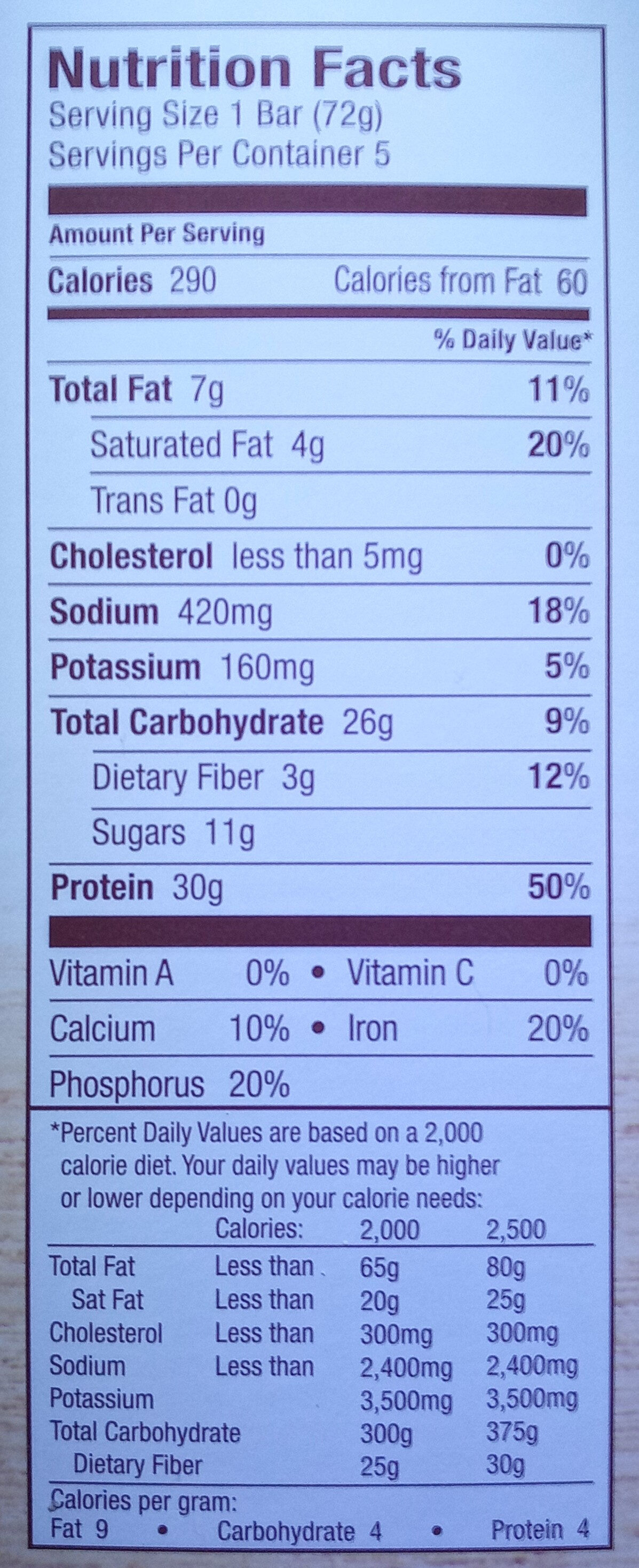 Salted caramel protein bars - Nutrition facts - en
