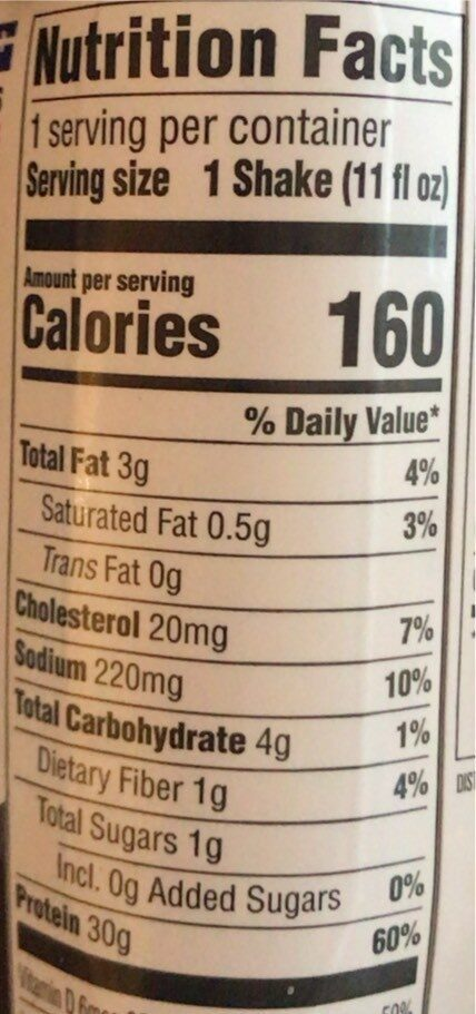 Cookies & Cream High Protein Shake - Nutrition facts - en