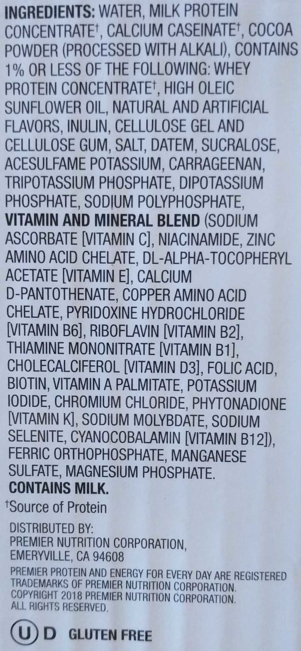 Premier nutrition high protein shake chocolate - Ingredients - en