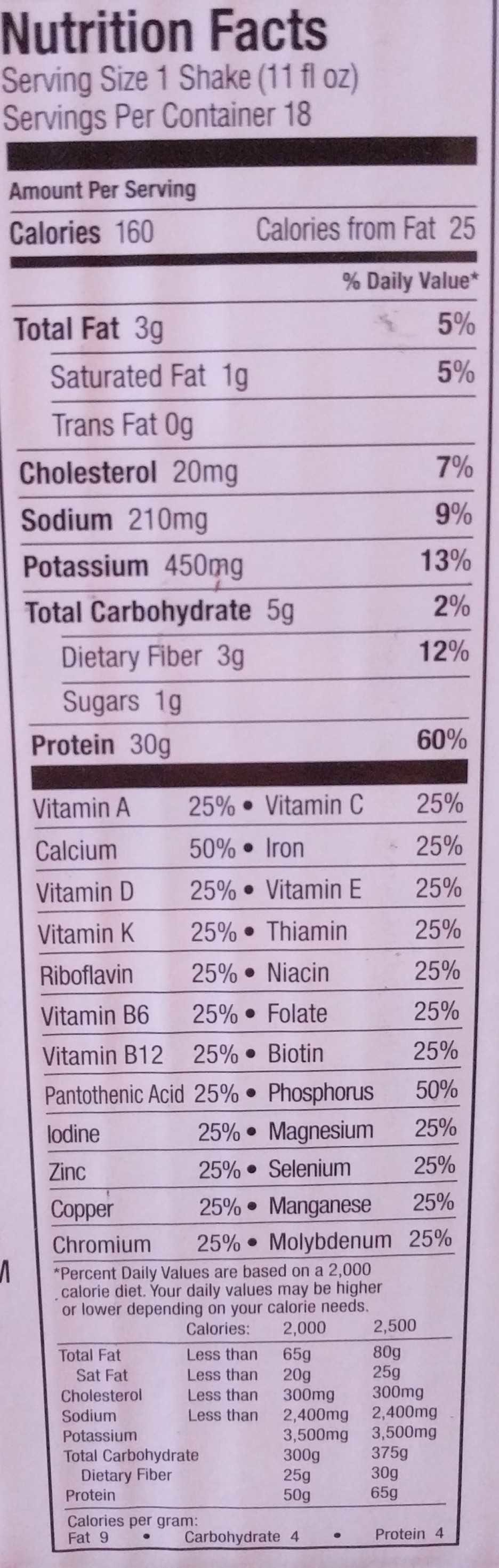 Premier nutrition high protein shake chocolate - Nutrition facts - en