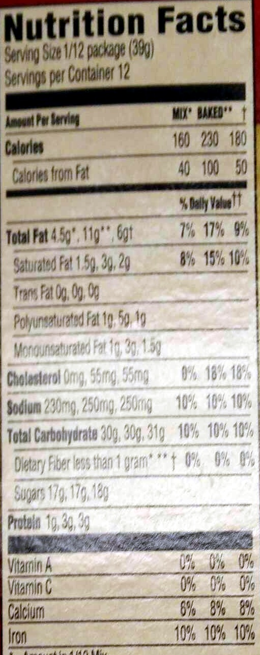 Duncan hines, signature cake mix, red velvet - Nutrition facts - en