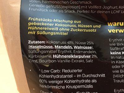 geNUSS[explosion] - Das Low Carb Knusper Müsli - Zutaten - de