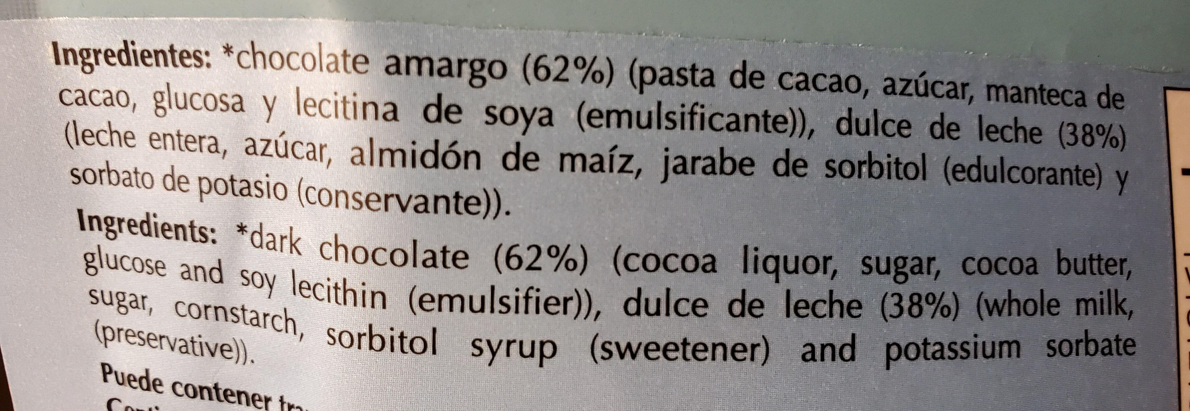 chocolates rellenos de dulce de leche - Ingredients - es