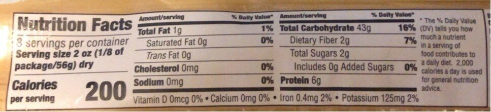 Organic Linguine - Nutrition facts - en