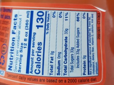 Lorina, sparkling soda, blood orange, blood orange - Nutrition facts - en