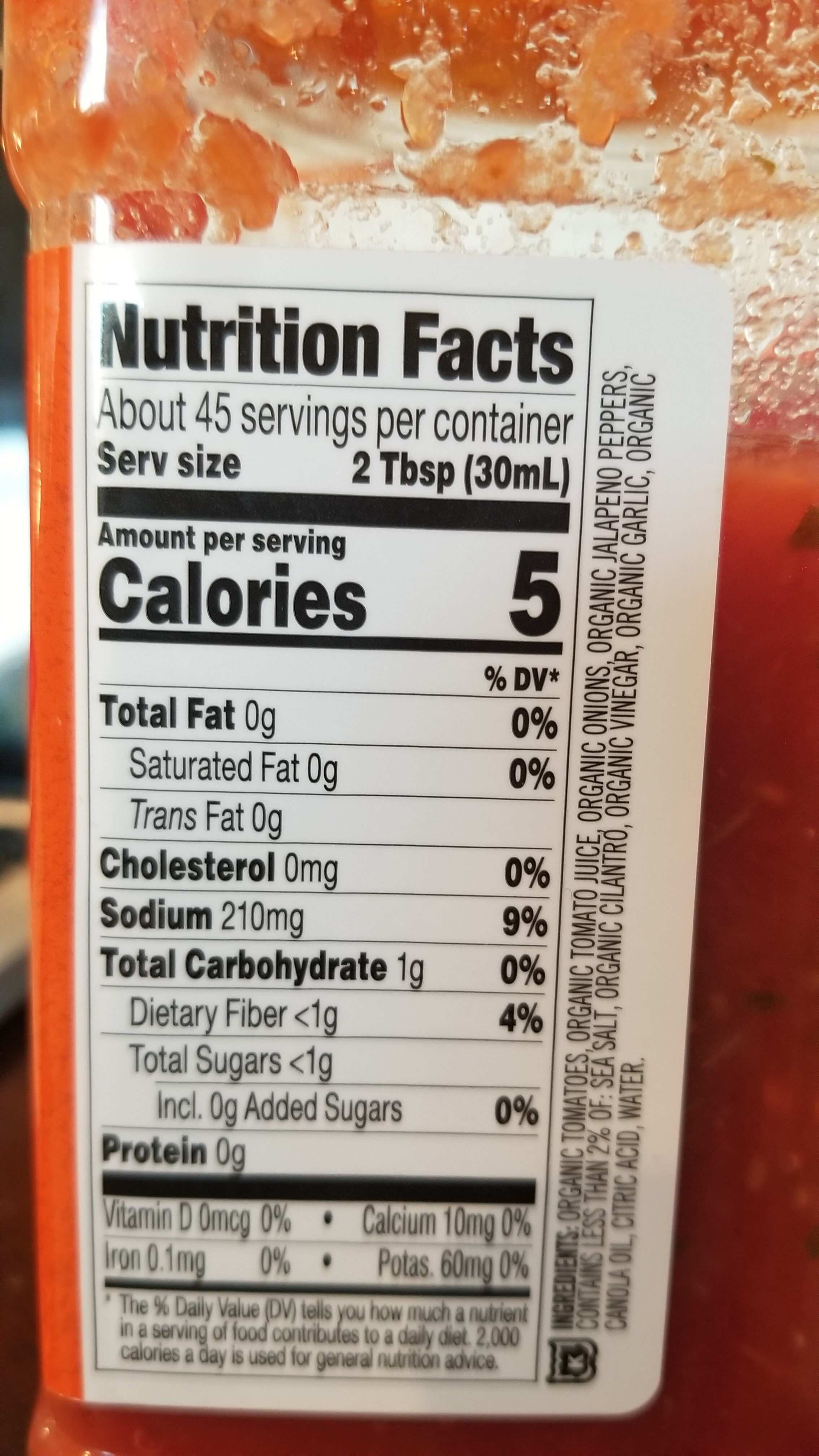 Organic Restaurant Style Salsa - Nutrition facts