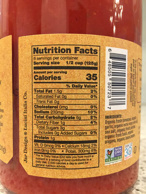 Organic sauce - Nutrition facts