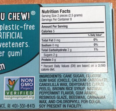 Peppermint Natural Chewing Gum - Nutrition facts
