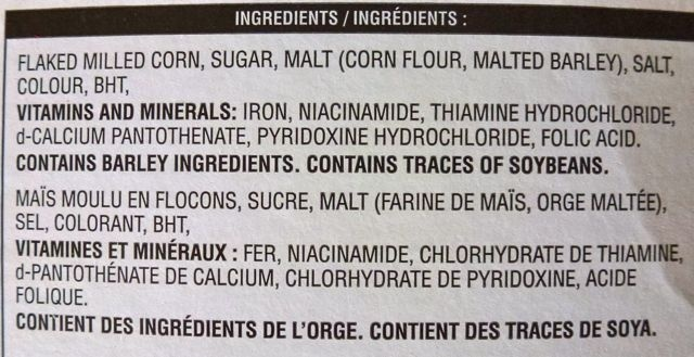 Corn Flakes - Ingredientes