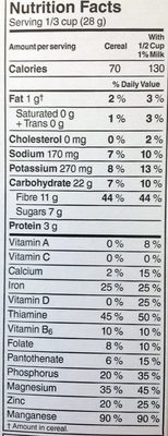 All-Bran Buds - Informations nutritionnelles