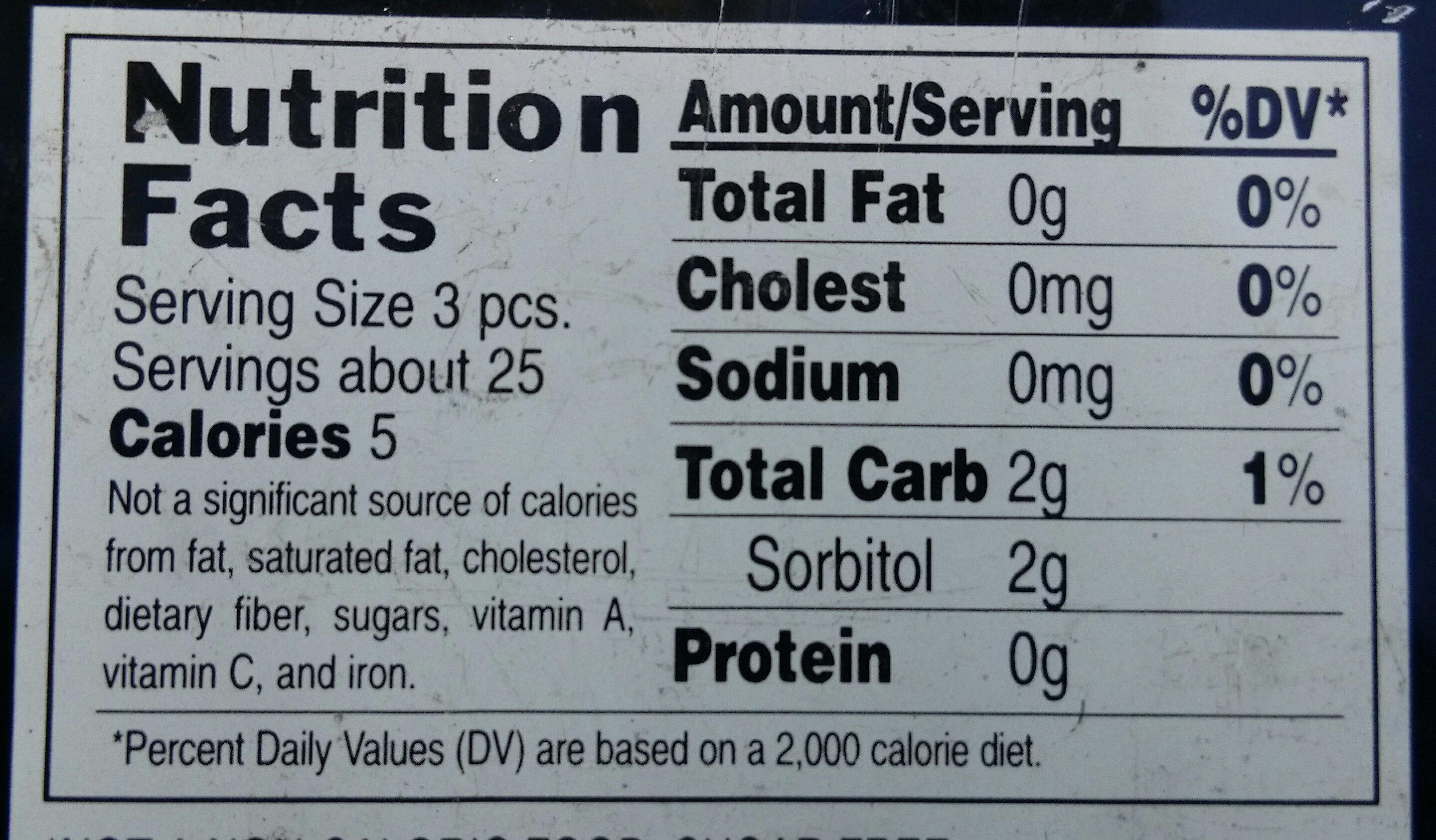 Penguin Caffeinated Mints - Nutrition facts - en