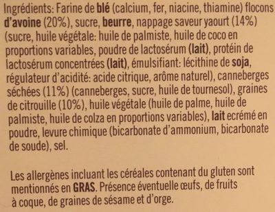 Sablé aux Flocons d'Avoine, Canneberges, Yaourt & Graines de Citrouille - Ingredients