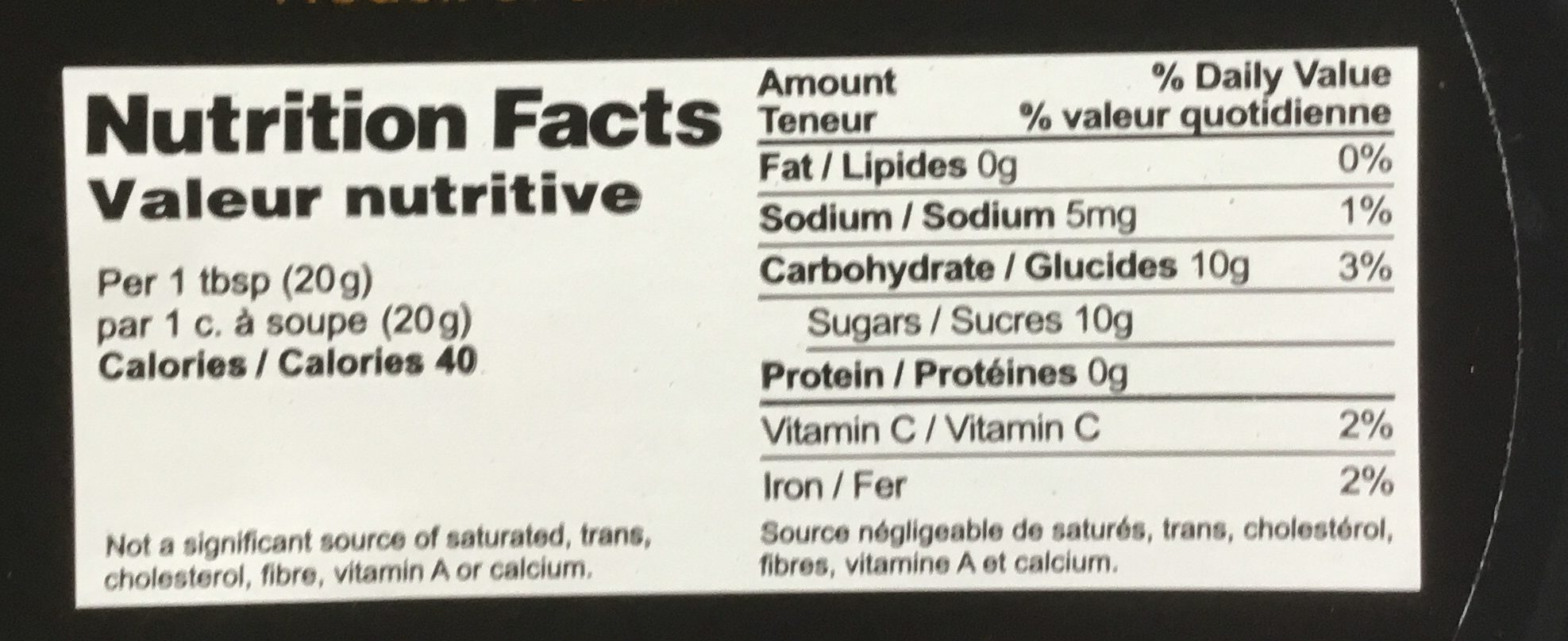 Marmelade aux figues - Informations nutritionnelles