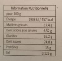 Gâteau amande Sésame - Informations nutritionnelles