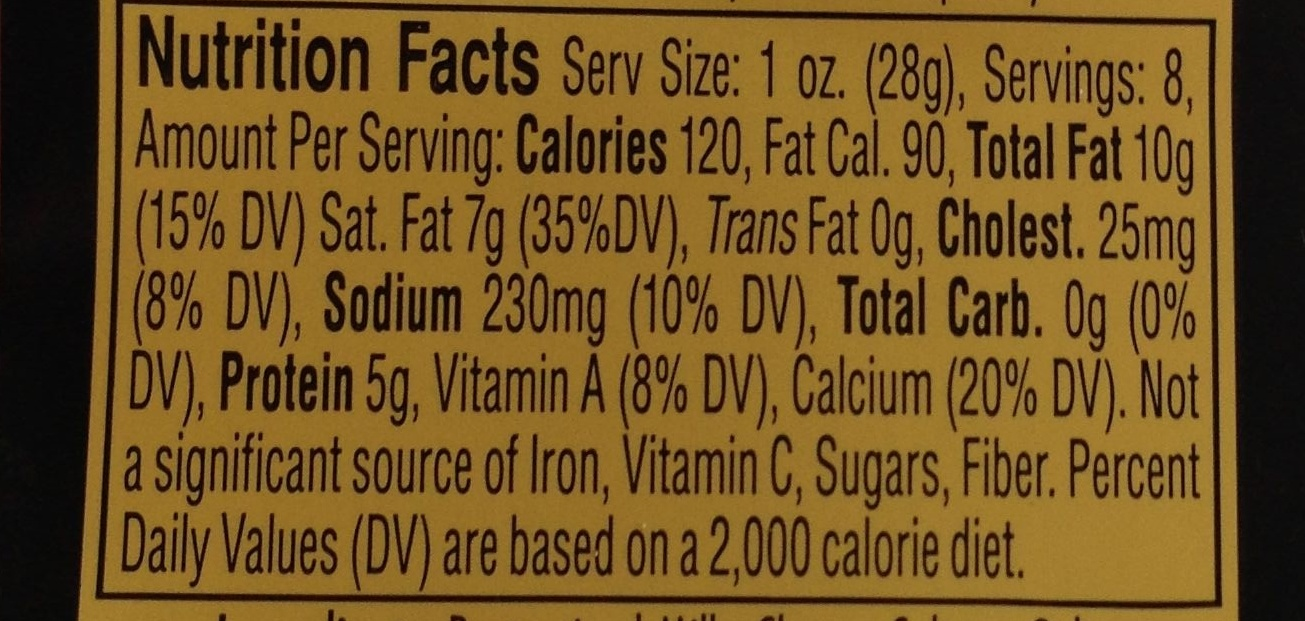 Creamy Havarti - Nutrition facts