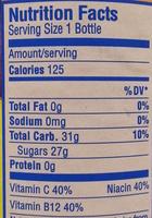 Flavored blended juice beverage - Nutrition facts - en