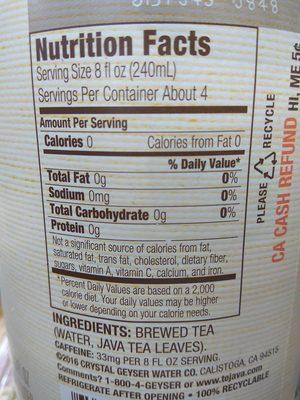 Original black tea - Nutrition facts