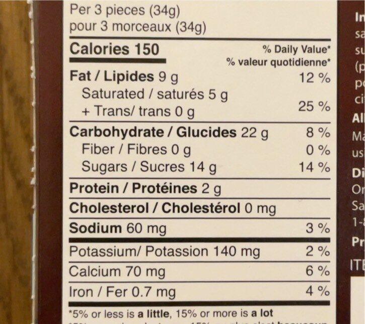 Fusion de biscuits et de creme - Informations nutritionnelles - fr