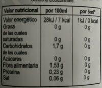 Sirope cero - Información nutricional - es