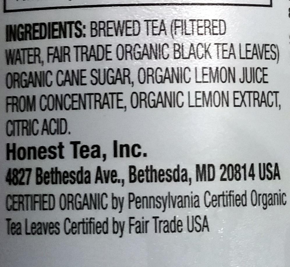 Organic lemon tea - Ingredients - en