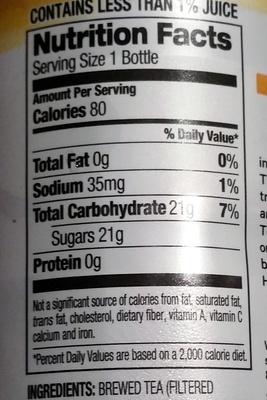 Organic lemon tea - Nutrition facts - en