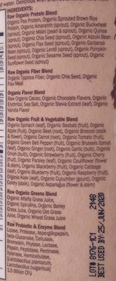 Raw Organic Meal, Chocolate - Ingredients