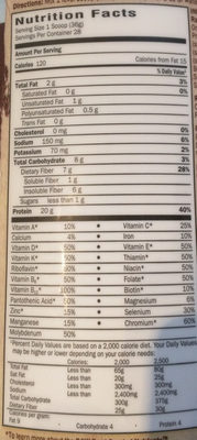 Raw Organic Meal, Chocolate - Nutrition facts
