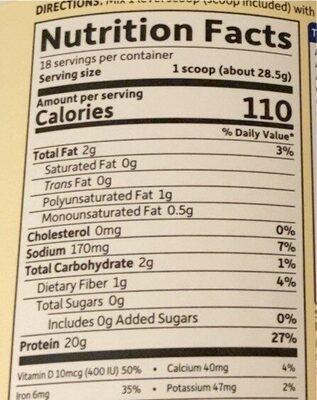 Vanilla Organic Delicious Protein Shake - Nutrition facts - en