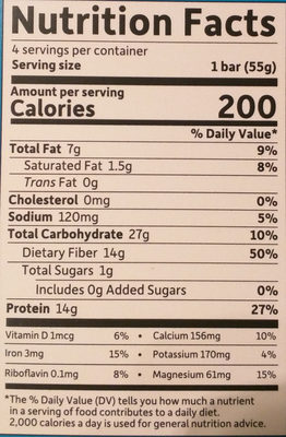 Plant-based high protein weight loss bar - Nutrition facts - en